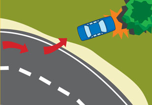 Collision diagram, leaving road and colliding with a tree