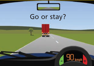 Overtaking a truck. Stay or go?