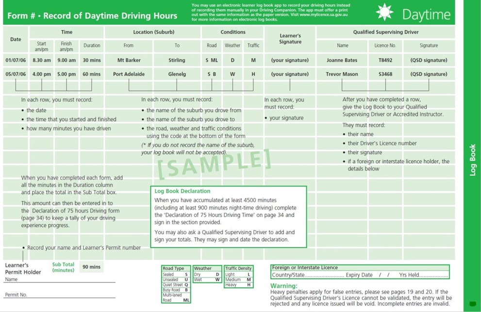 My Licence The Driving Companion Sample form – Sample Form