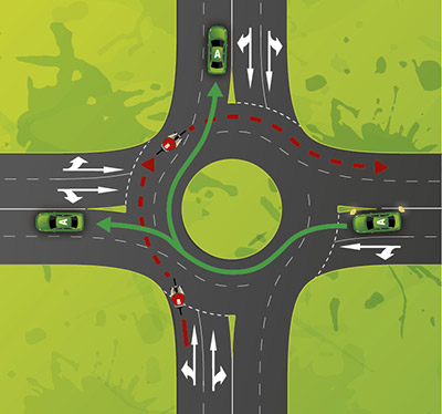 Bicycle riders in the far left lane of a multi lane roundabout must give way to any vehicle leaving the roundabout