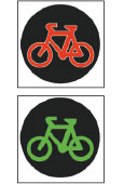 Red - Green Bicycle crossing lights with symbols