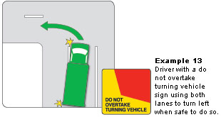 Do Not Overtake Turning Vehicle diagram
