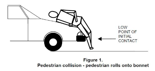 pedestrian collision - pedesttrian rolls onto bonnet