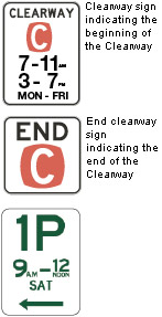 clearway and parking signs
