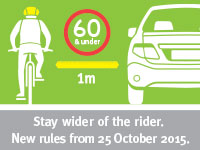 Cyclist and car keeping distance away to be safe
